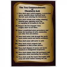 10 Commandments Chart Ten Commandments Of Chemistry Lab Chart