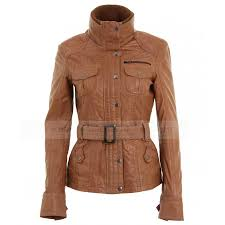 womens brown tan leather belted biker jacket zoom womens