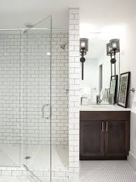 Large transitional 3/4 white tile and subway tile white floor and mosaic  tile floor