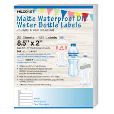 waterbottle labels milcoast matte waterproof tear resistant diy water bottle labels
