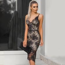 <b>Sexy Lace</b> Bandage Bodycon <b>Autumn</b> Winter Dress