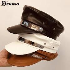 <b>2019</b> Winter <b>PU Leather</b> Black Berets Women Men <b>Military</b> Hat ...