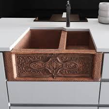 Ren Offset Copper 33 L X 22 W Double Basin Apron Kitchen Sink