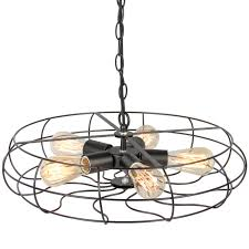 best choice s industrial vintage metal hanging ceiling chandelier lighting w 5 lights black