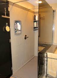long stone tile faux shower wall panels for a custom shower with a wall greater than