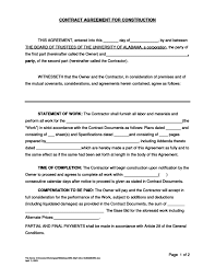 Free Sample Construction Contract Agreement Archives - Studioy.us