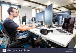 google office germany munich. munich germany 08th apr 2016 a google employee sits at his desk during press tour the opening of new development center in office b