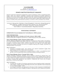 Senior Construction Project Manager Resume Letter With
