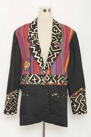 Vintage Marie Studer Designs Multi Color Print Cotton Blazer Size