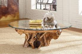 Coffee Table:Tree Trunk Coffee Table With Glass Top But Also Suspends A  Woven Cat