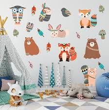 tribal woodland animal wall stickers