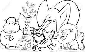 Safari Animals Template Black And White Cartoon Illustration Of Cute African Safari Wild
