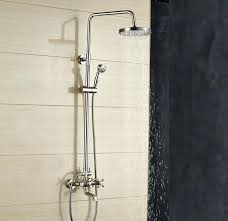 rain shower head brushed nickel 8 inch wall mount with hand held hot 12 nick