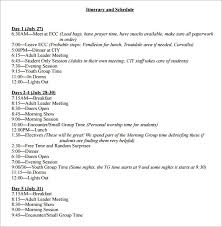 Examples Of An Itinerary Free 8 Weekly Itinerary Samples In Pdf