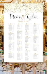 Seating Chart In Alphabetical Order Wedding Seating Chart Poster Confetti 2 Gold Print Ready Digital File