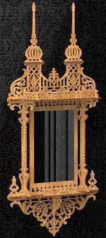 this is a pattern of a frame for a drawing or mirror ornamented in victorian style with two shelves the pattern is based in an old english design