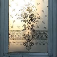 antique 19th century 32 door with figural etched glass heron birds with daffodils ned93 for