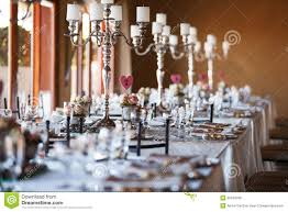 Decorated Tables With Candelabra At Wedding Reception Selective