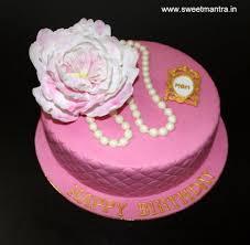 Peony Flower Theme Customized Small Fondant Designer Cake For Moms