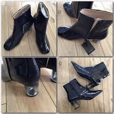 details about zara navy shiny faux patent leather ankle boots blue tint clear heel sz 6 5 37