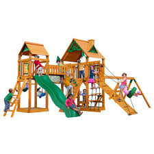 pioneer peak treehouse wooden playset with fort add on timber shield posts and clatter bridge and tower