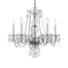 crystorama trad crystal 5 light crystal chandelier in polished chrome crystal chandeliers chandeliers