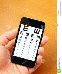 Smartphone Eye Chart Eyechart On Mobile Stock Image Image Of Eyewear Care