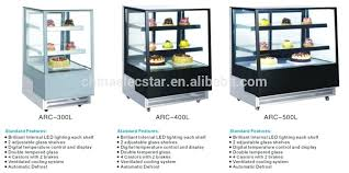table top freezer four sides back glass door showcase for cake