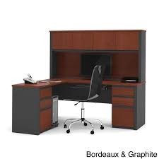 bestar prestige plus l shaped workstation desk with hutch and dual full pedestals