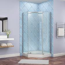for this shower door there are two smaller side panels running perpendicular to two side walls with the door centered between them