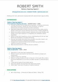 notary signing agent resume sles