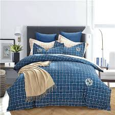 plaid and striped navy blue pink grey bedding set queen king size cotton sanding print sheets