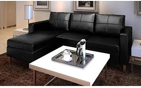 Office Furniture <b>Sectional Sofa 3-Seater Artificial</b> Leather Black L ...