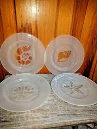 details about four vintage etched frosted glass seashell salad dessert plates beachy decor