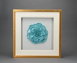 Box Frame Design Blue Shadow Box Frame With Flower For House Decoration