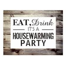 Eat, Drink Housewarming Party Rustic Wood Invite ...