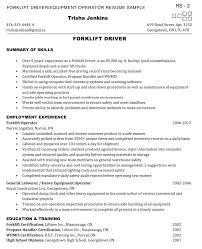 Forklift Operator Resume Sample