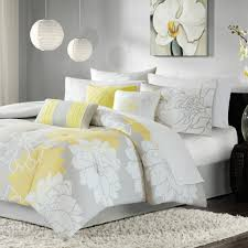 Madison Park Brianna Grey and Yellow Flower Printed Cotton Comforter Set -  Free Shipping Today - Overstock.com - 13946162