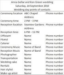 Popular Sample Wedding Day Timeline And Template Vendor List