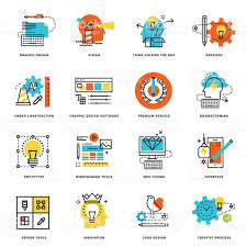 Graphic Design Software Icons Set Of Flat Line Design Icons Of Graphic Design Tools And