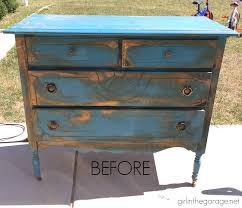 painted antique dresser makeover girl in the garage