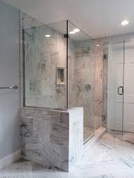 frameless clear tempered glass corner shower enclosure installed with channels