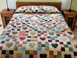 Hearts and Nine Patch Quilt -- exquisite made with care Amish ... & Hearts and Nine Patch Quilt -- exquisite made with care Amish Quilts from  Lancaster ( Adamdwight.com