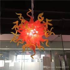 modern led chandeliers lighting red and yellow chihuly style hand blown glass crystal chandelier pendant lighting living room lights pendant ceiling