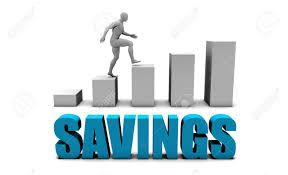 Savings 3d Concept In Blue With Bar Chart Graph