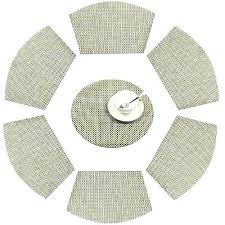 wedge shaped placemats wedge shaped set of 7 woven place mats for round table mats washable