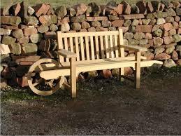 wooden outdoor wheelbarrow bench