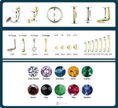 Body Jewelry Measurement Chart Body Jewelry Size Chart Visual Ly