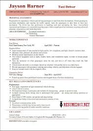 Taxi Driver Resume Examples 40 Delectable Example Resume 2017