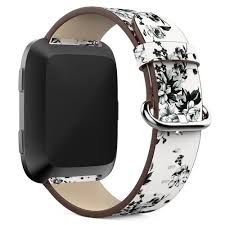 multi c genuine leather replacement wrist watch band for fitbit versa